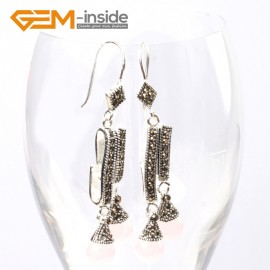 G5742 Pink crystal Fashion  Pretty 8mm round beads Marcasite silver dangle earrings G-Beads Ladies Birthstone Earrings Fashion Jewelry Jewellery