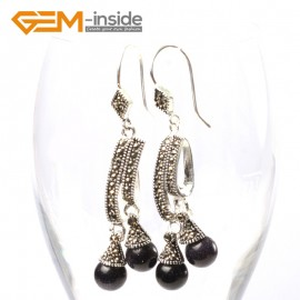 G5743 Blue sandstone Fashion  Pretty 8mm round beads Marcasite silver dangle earrings G-Beads Ladies Birthstone Earrings Fashion Jewelry Jewellery