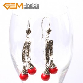 G5746 Man-made red coral Fashion  Pretty 8mm round beads Marcasite silver dangle earrings G-Beads Ladies Birthstone Earrings Fashion Jewelry Jewellery
