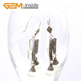 G5748 White cat eye Fashion  Pretty 8mm round beads Marcasite silver dangle earrings G-Beads Ladies Birthstone Earrings Fashion Jewelry Jewellery