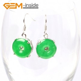 G5751 Dyed green jade Fashion 15mm ring dyed green jade beads carved silver dangle earrings G-Beads Ladies Birthstone Earrings Fashion Jewelry Jewellery