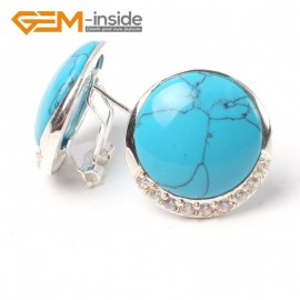 G5754 Dyed blue turquoise Fashion Pretty 24mm coin beads tibetan silver stud earrings 1 pair G-Beads Ladies Birthstone Earrings Fashion Jewelry Jewellery