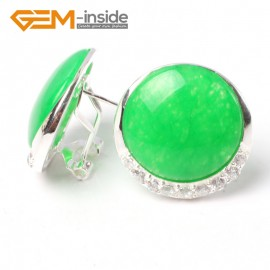 G5755 Dyed green jade Fashion Pretty 24mm coin beads tibetan silver stud earrings 1 pair G-Beads Ladies Birthstone Earrings Fashion Jewelry Jewellery