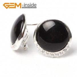G5756 Black agate Fashion Pretty 24mm coin beads tibetan silver stud earrings 1 pair G-Beads Ladies Birthstone Earrings Fashion Jewelry Jewellery