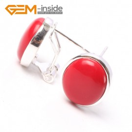 G5760 Man-made red coral Fashion Pretty 12x14mm oval bead silver stud earrings 1 pair G-Beads hot selling Ladies Birthstone Earrings Fashion Jewelry Jewellery
