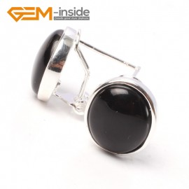 G5762 Black agate Fashion Pretty 12x14mm oval bead silver stud earrings 1 pair G-Beads hot selling Ladies Birthstone Earrings Fashion Jewelry Jewellery