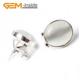 G5763 White cat eye Fashion Pretty 12x14mm oval bead silver stud earrings 1 pair G-Beads hot selling Ladies Birthstone Earrings Fashion Jewelry Jewellery