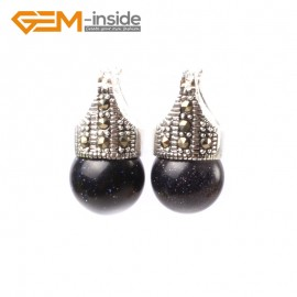 G5764 Blue sandstone G-Beads Fashion 12mm round beads Marcasite silver dangle stud  hoop earrings Ladies Birthstone Earrings Fashion Jewelry Jewellery