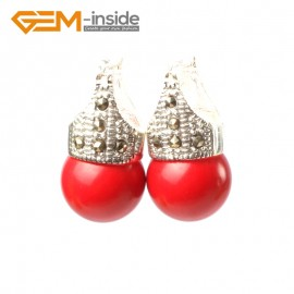 G5766 Man-made red coral G-Beads Fashion 12mm round beads Marcasite silver dangle stud  hoop earrings Ladies Birthstone Earrings Fashion Jewelry Jewellery