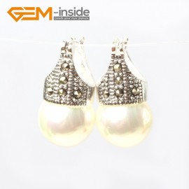 G5768 White pearl G-Beads Fashion 12mm round beads Marcasite silver dangle stud  hoop earrings Ladies Birthstone Earrings Fashion Jewelry Jewellery