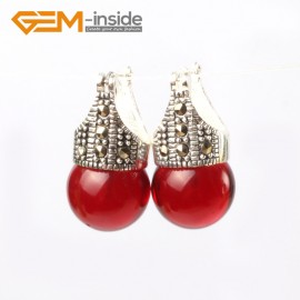 G5770 Dyed red jade G-Beads Fashion 12mm round beads Marcasite silver dangle stud  hoop earrings Ladies Birthstone Earrings Fashion Jewelry Jewellery