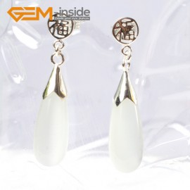 G5775 White cat eye G-Beads Pretty 8x20mm drop beads tibetan silver stud earrings 1 pair hot selling Ladies Birthstone Earrings Fashion Jewelry Jewellery