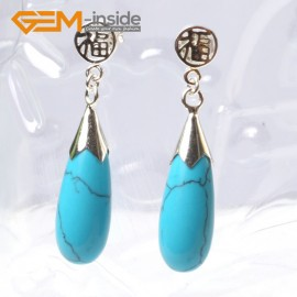 G5777 Dyed blue turquoise G-Beads Pretty 8x20mm drop beads tibetan silver stud earrings 1 pair hot selling Ladies Birthstone Earrings Fashion Jewelry Jewellery