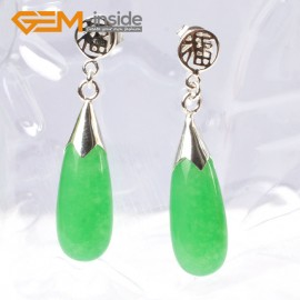 G5778 Dyed green jade G-Beads Pretty 8x20mm drop beads tibetan silver stud earrings 1 pair hot selling Ladies Birthstone Earrings Fashion Jewelry Jewellery
