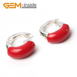 G5780 Man-made red coral G-Beads Fashion ear clip silver stud hoop earrings 1 pair 30mm  for girl gift Ladies Birthstone Earrings Fashion Jewelry Jewellery