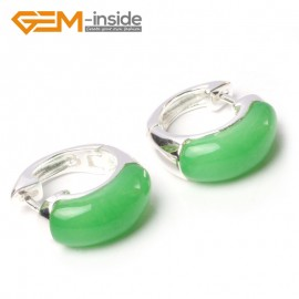 G5783 Dyed green jade G-Beads Fashion ear clip silver stud hoop earrings 1 pair 30mm  for girl gift Ladies Birthstone Earrings Fashion Jewelry Jewellery
