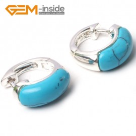 G5784 Dyed blue turquoise G-Beads Fashion ear clip silver stud hoop earrings 1 pair 30mm  for girl gift Ladies Birthstone Earrings Fashion Jewelry Jewellery