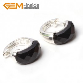 G5785 Faceted black agate G-Beads Fashion ear clip silver stud hoop earrings 1 pair 30mm  for girl gift Ladies Birthstone Earrings Fashion Jewelry Jewellery