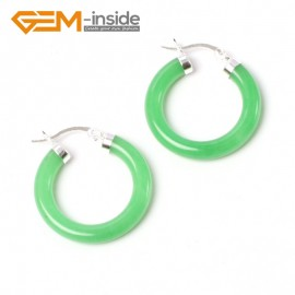 G5788 Dyed green jade G-Beads Fashion ear clip tibetan silver stud hoop earrings 1 pair 30mm  hot sell Ladies Birthstone Earrings Fashion Jewelry Jewellery
