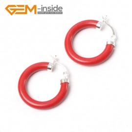 G5790 Man-made red coral G-Beads Fashion ear clip tibetan silver stud hoop earrings 1 pair 30mm  hot sell Ladies Birthstone Earrings Fashion Jewelry Jewellery