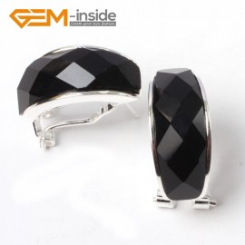 G5793 Faceted black agate Fashion  silver lever back stud hoop earrings  21mm for women lady girl gift Ladies Birthstone Earrings Fashion Jewelry Jewellery