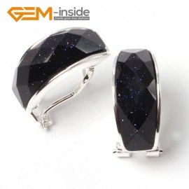 G5794 Faceted blue sandstone Fashion  silver lever back stud hoop earrings  21mm for women lady girl gift Ladies Birthstone Earrings Fashion Jewelry Jewellery