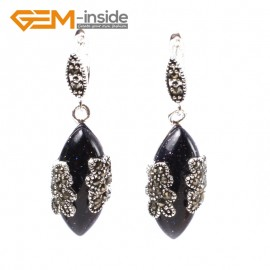 G5799 Dyed blue turquoise G-Beads Fashion Marquise bead Marcasite silver dangle stud hoop earring Ladies Birthstone Earrings Fashion Jewelry Jewellery