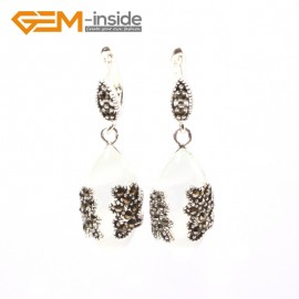 G5800 White cat eye G-Beads Fashion Marquise bead Marcasite silver dangle stud hoop earring Ladies Birthstone Earrings Fashion Jewelry Jewellery
