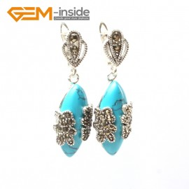 G5802 Dyed blue turquoise G-Beads Fashion Marquise bead Marcasite silver dangle stud hoop earring Ladies Birthstone Earrings Fashion Jewelry Jewellery