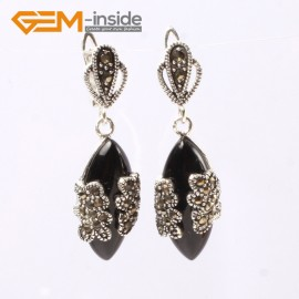 G5803 Black agate G-Beads Fashion Marquise bead Marcasite silver dangle stud hoop earring Ladies Birthstone Earrings Fashion Jewelry Jewellery