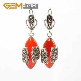 G5804 Man-made red coral G-Beads Fashion Marquise bead Marcasite silver dangle stud hoop earring Ladies Birthstone Earrings Fashion Jewelry Jewellery