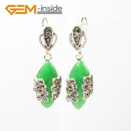 G5805 Dyed green jade G-Beads Fashion Marquise bead Marcasite silver dangle stud hoop earring Ladies Birthstone Earrings Fashion Jewelry Jewellery