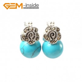 G5812 Dyed blue turquoise G-Beads Fashion 12mm round beads Marcasite silver flower stud  hoop earrings Ladies Birthstone Earrings Fashion Jewelry Jewellery
