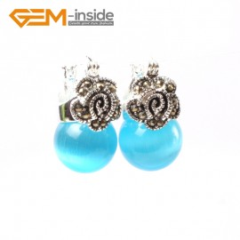 G5815 Blue cat eye G-Beads Fashion 12mm round beads Marcasite silver flower stud  hoop earrings Ladies Birthstone Earrings Fashion Jewelry Jewellery
