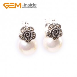G5817 White pearl G-Beads Fashion 12mm round beads Marcasite silver flower stud  hoop earrings Ladies Birthstone Earrings Fashion Jewelry Jewellery
