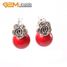 G5818 Man-made red coral G-Beads Fashion 12mm round beads Marcasite silver flower stud  hoop earrings Ladies Birthstone Earrings Fashion Jewelry Jewellery