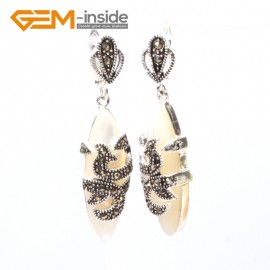 G5819 White shell G-Beads Fashion Marquise bead Marcasite silver dangle stud hoop earring 1 pair Ladies Birthstone Earrings Fashion Jewelry Jewellery