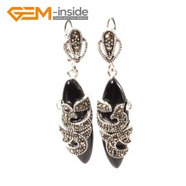 G5820 Black agate G-Beads Fashion Marquise bead Marcasite silver dangle stud hoop earring 1 pair Ladies Birthstone Earrings Fashion Jewelry Jewellery