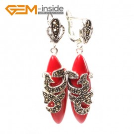 G5822 Man-made red coral G-Beads Fashion Marquise bead Marcasite silver dangle stud hoop earring 1 pair Ladies Birthstone Earrings Fashion Jewelry Jewellery