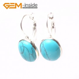 G5827 Dyed blue turquoise G-Beads Fashion 12x15mm oval bead tibetan silver earclip hook earring 1 pair Ladies Birthstone Earrings Fashion Jewelry Jewellery