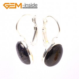 G5828 Blue sandstone G-Beads Fashion 12x15mm oval bead tibetan silver earclip hook earring 1 pair Ladies Birthstone Earrings Fashion Jewelry Jewellery