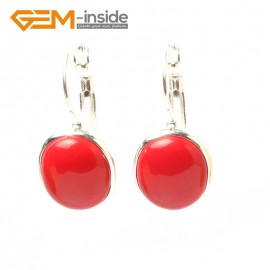 G5832 Man-made red coral G-Beads Fashion 12x15mm oval bead tibetan silver earclip hook earring 1 pair Ladies Birthstone Earrings Fashion Jewelry Jewellery