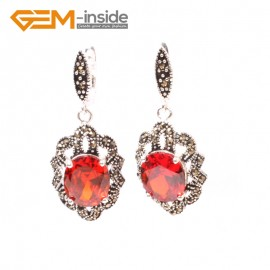 G5835 Faceted red crystal G-Beads Fashion oval beads Marcasite silver dangle stud hoop earring 1 pair Ladies Birthstone Earrings Fashion Jewelry Jewellery