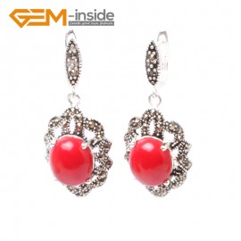 G5836 Man-made red coral G-Beads Fashion oval beads Marcasite silver dangle stud hoop earring 1 pair Ladies Birthstone Earrings Fashion Jewelry Jewellery
