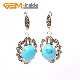 G5837 Dyed blue turquoise G-Beads Fashion oval beads Marcasite silver dangle stud hoop earring 1 pair Ladies Birthstone Earrings Fashion Jewelry Jewellery
