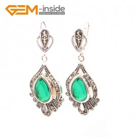 G5839 Green crystal GBeads Fashion Drip Gemstone Marcasite Silver Dangle Stud Hoop Earring Beads12m Ladies Birthstone Earrings Fashion Jewelry Jewellery