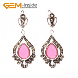 G5841 Pink  crystal GBeads Fashion Drip Gemstone Marcasite Silver Dangle Stud Hoop Earring Beads12m Ladies Birthstone Earrings Fashion Jewelry Jewellery