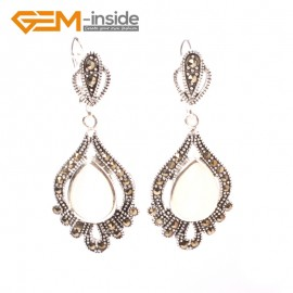 G5844 White cat eye GBeads Fashion Drip Gemstone Marcasite Silver Dangle Stud Hoop Earring Beads12m Ladies Birthstone Earrings Fashion Jewelry Jewellery
