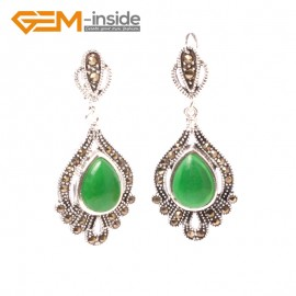 G5845 Dyed green jade GBeads Fashion Drip Gemstone Marcasite Silver Dangle Stud Hoop Earring Beads12m Ladies Birthstone Earrings Fashion Jewelry Jewellery