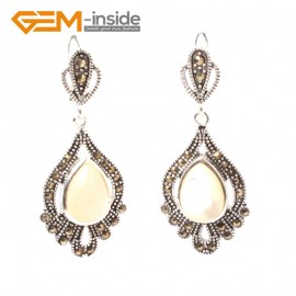 G5849 White shell GBeads Fashion Drip Gemstone Marcasite Silver Dangle Stud Hoop Earring Beads12m Ladies Birthstone Earrings Fashion Jewelry Jewellery